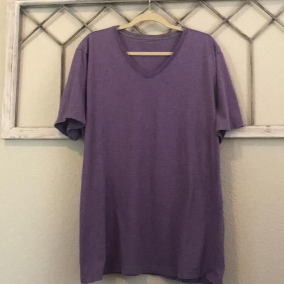 Super soft V-neck T-shirt in distressed purple